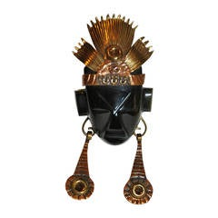 Large Obsidian Black Onyx Face Mask with Gold Hardware Brooch