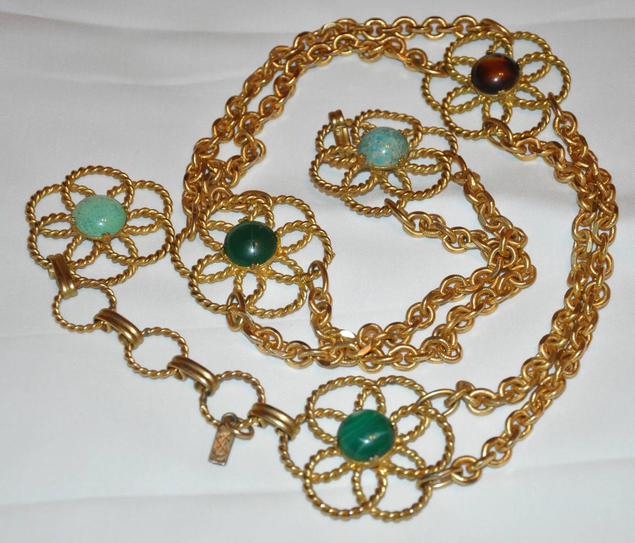 Brown Rare Yves Saint Laurent Multi-Stone & Gold Hardware Chain-Link Belt For Sale