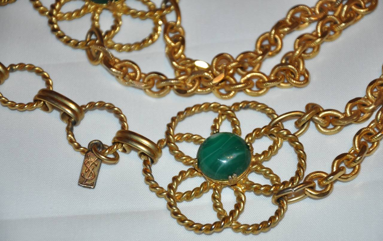 Rare Yves Saint Laurent Multi-Stone & Gold Hardware Chain-Link Belt In Excellent Condition For Sale In New York, NY