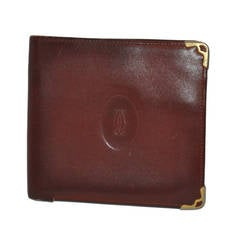 Cartier Burgundy Men's European Billfold with 18k Accents