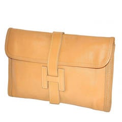 "Tan Lambskin Leather ""H"" Clutch"