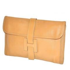 "Tan Lambskin Leather ""H"" Clutch"