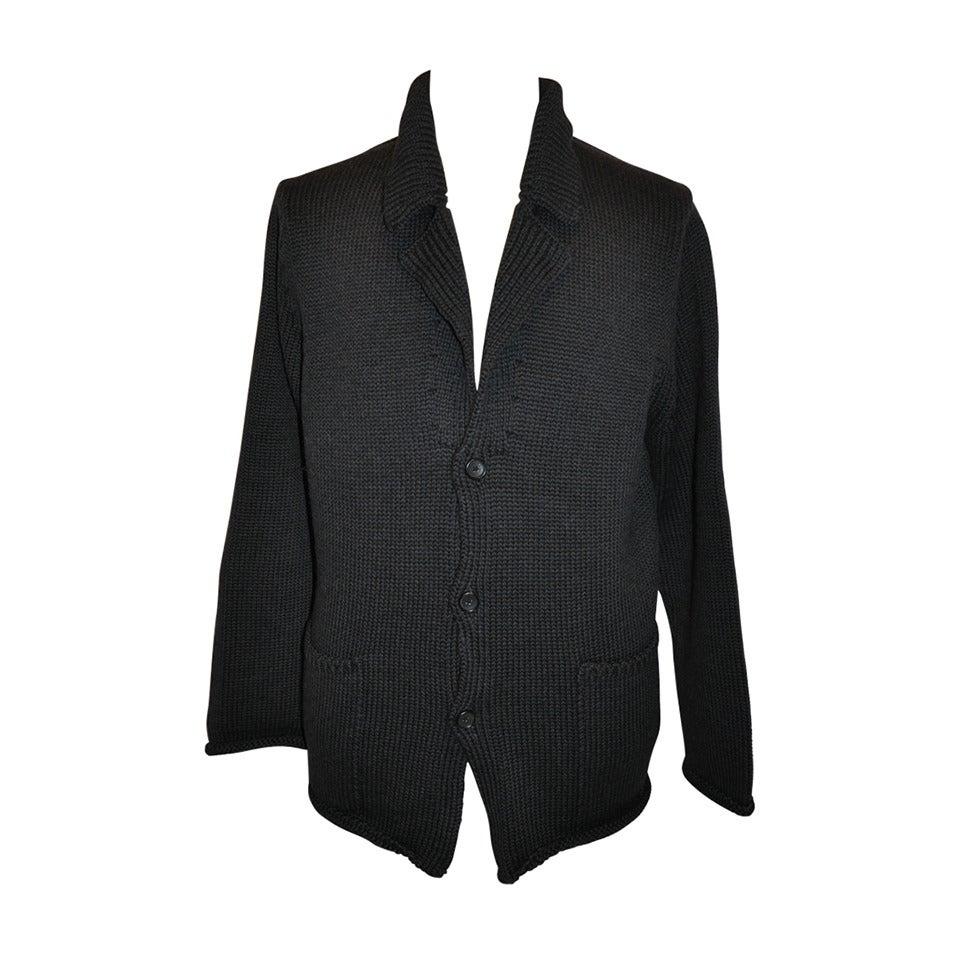 Yoshi Yamamoto Men's Pour Homme Dark Navy Button Front Sweater