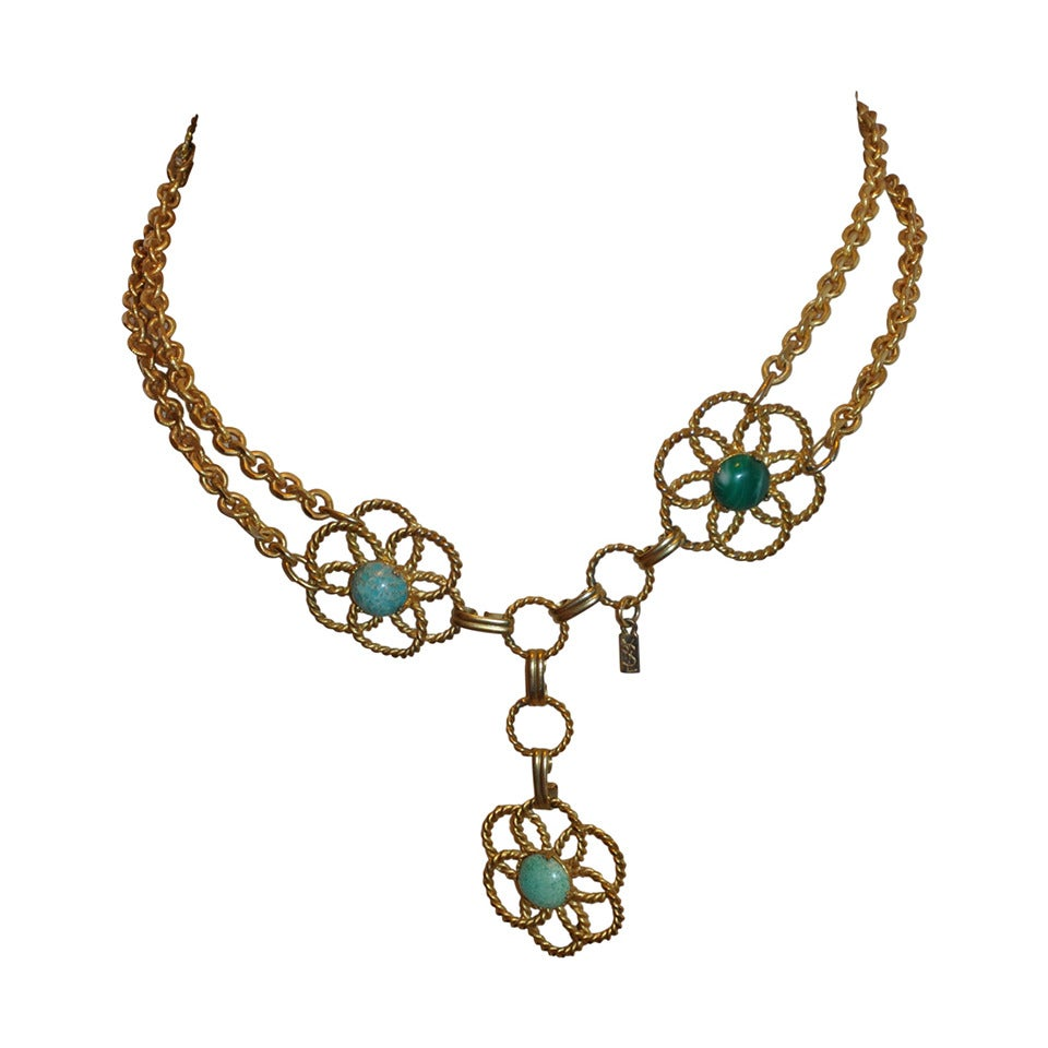 Rare Yves Saint Laurent Multi-Stone & Gold Hardware Chain-Link Belt For Sale