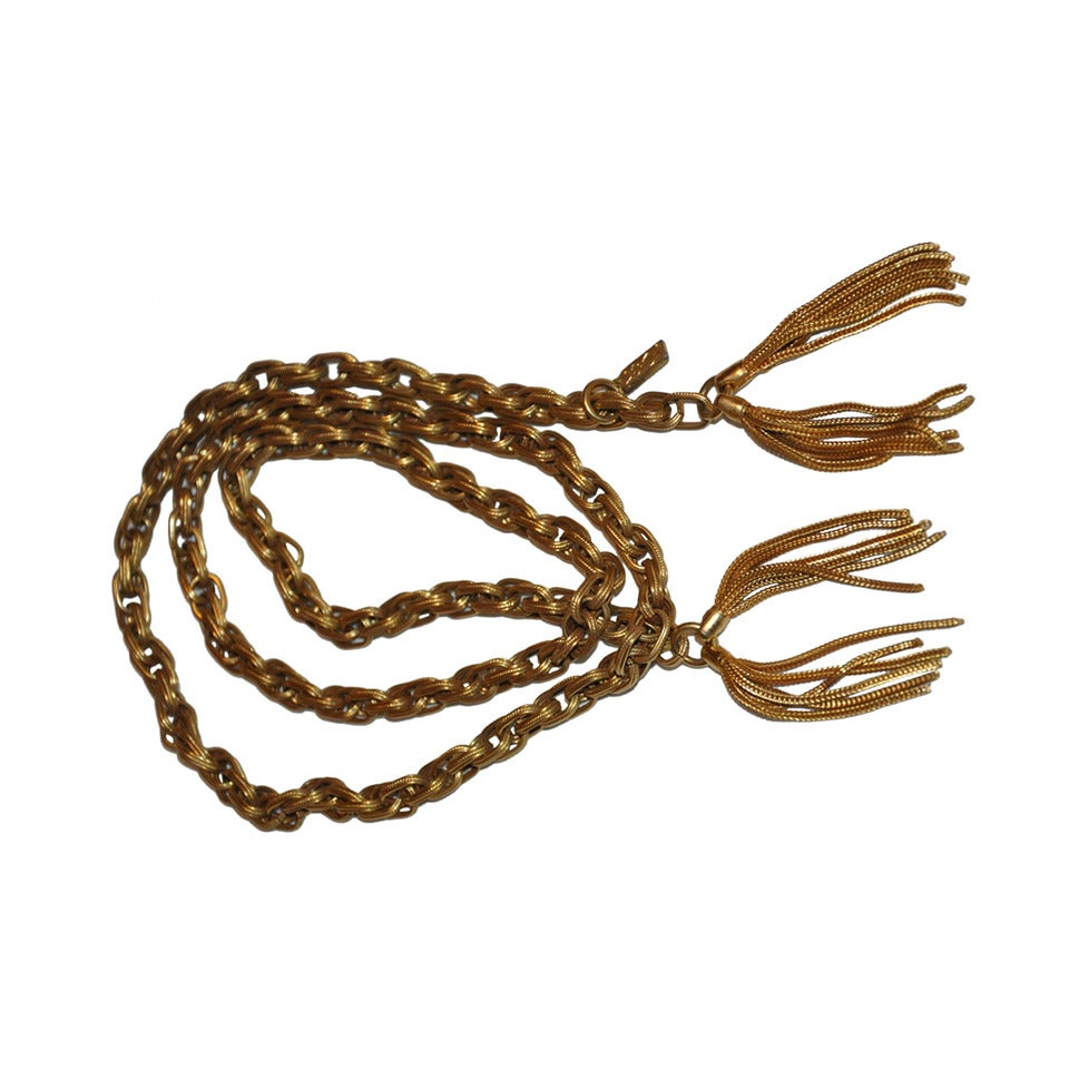 Yves Saint Laurent Gold Hardware Link Chain Belt with Hardware Fringe