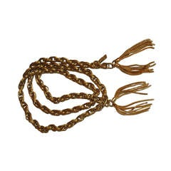 Yves Saint Laurent Gold Hardware Link Chain Belt with Hardware Fringe