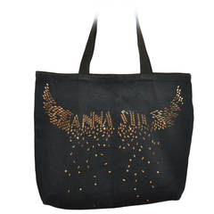 Anna Siu Black Canvas with Gold Hardware Studs Tote