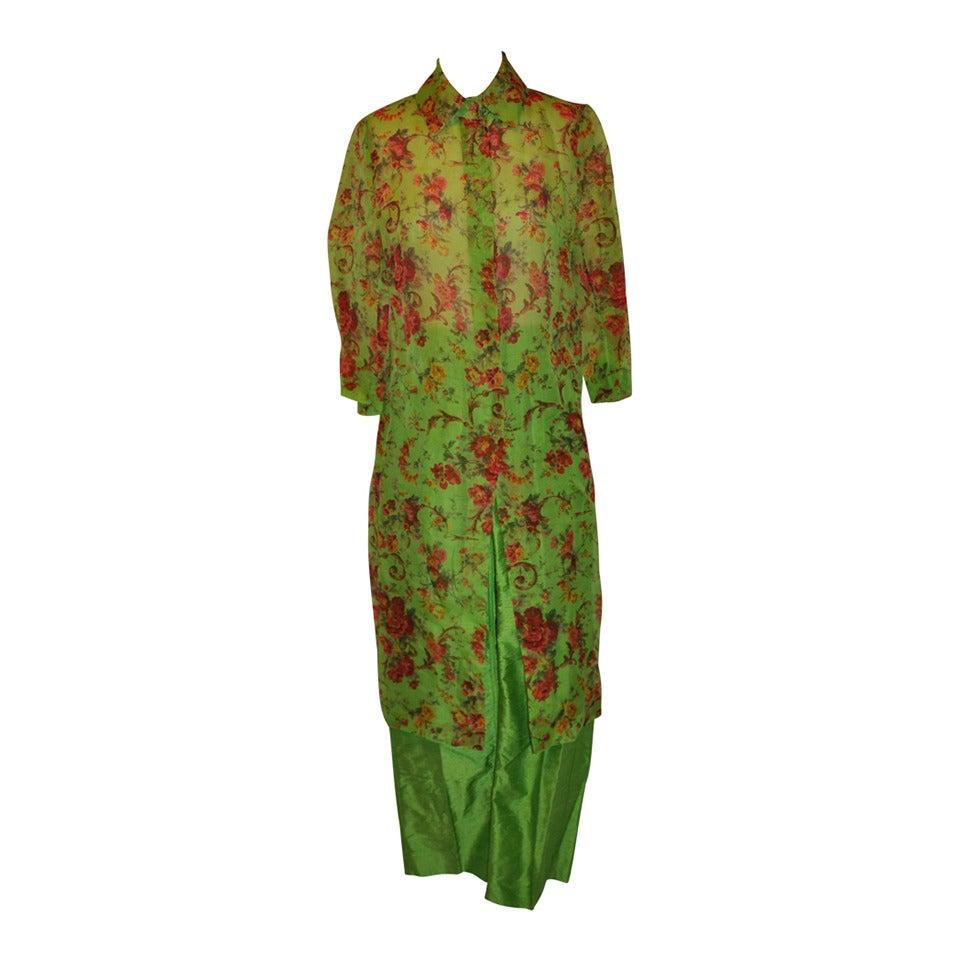 Dolce & Gabbana Bold Floral Two-Piece Silk Pant Ensemble