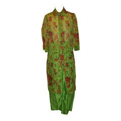 Dolce & Gabbana Bold Floral Two-Piece Silk Pant Ensemble