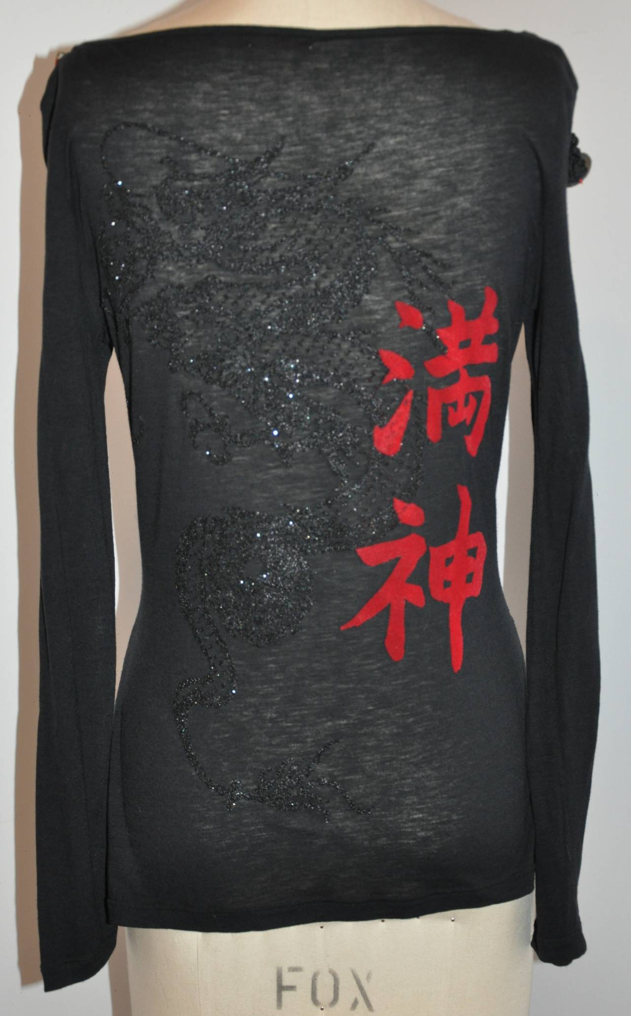 "John Galliano ""Asian"" Inspired Black Scoop Neck Top For Sale 2"