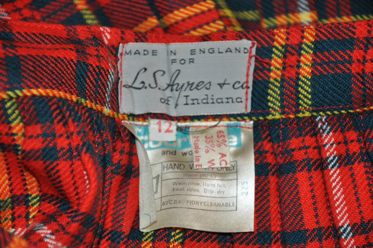 L.S. Ayres & Co Bold Red Plaid Maxi Wrap Skirt 4