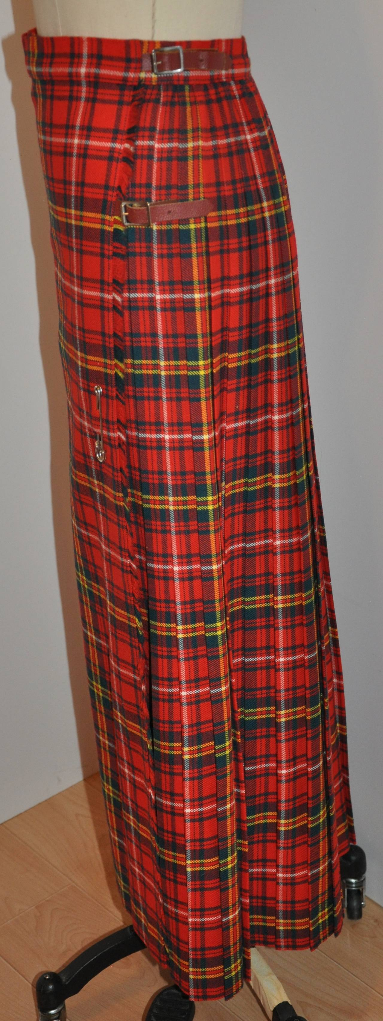 L.S. Ayres & Co Bold Red Plaid Maxi Wrap Skirt 3