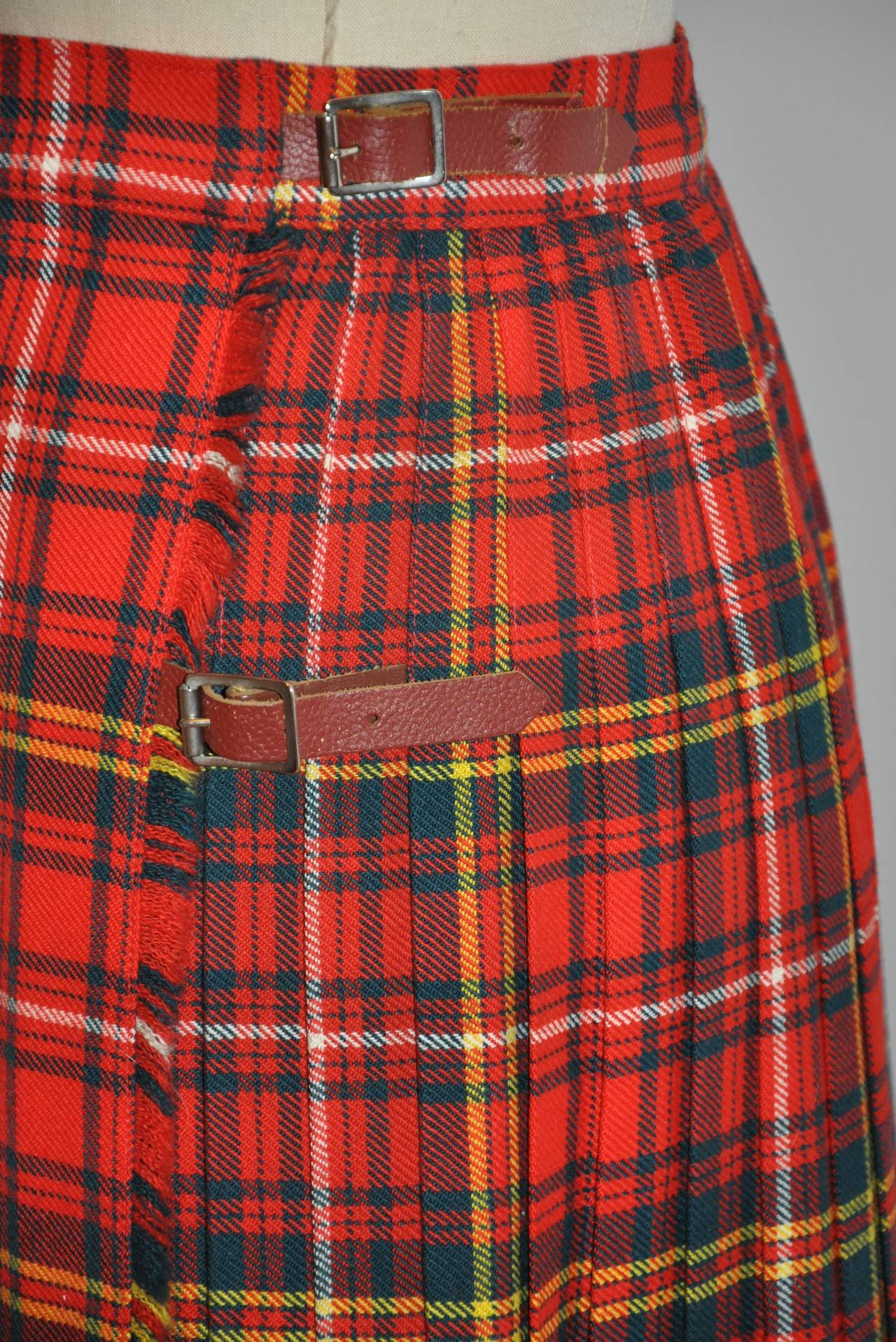 L.S. Ayres & Co Bold Red Plaid Maxi Wrap Skirt 6