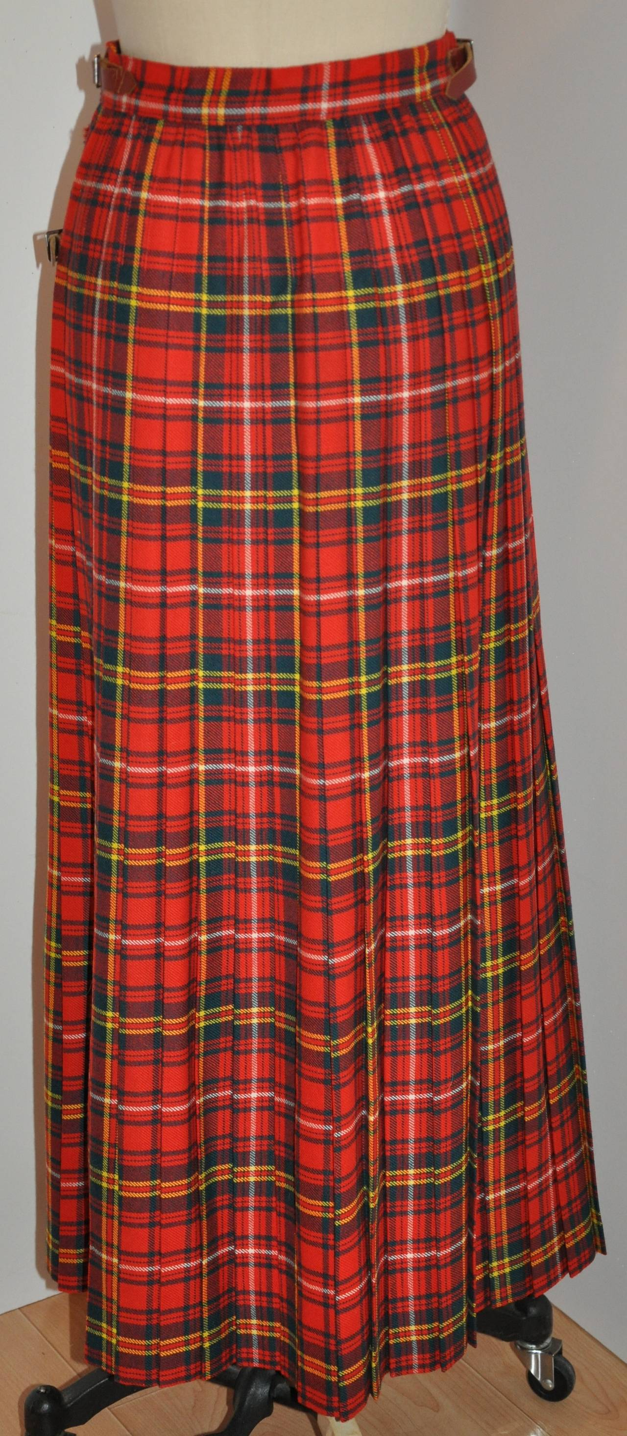 L.S. Ayres & Co Bold Red Plaid Maxi Wrap Skirt 2