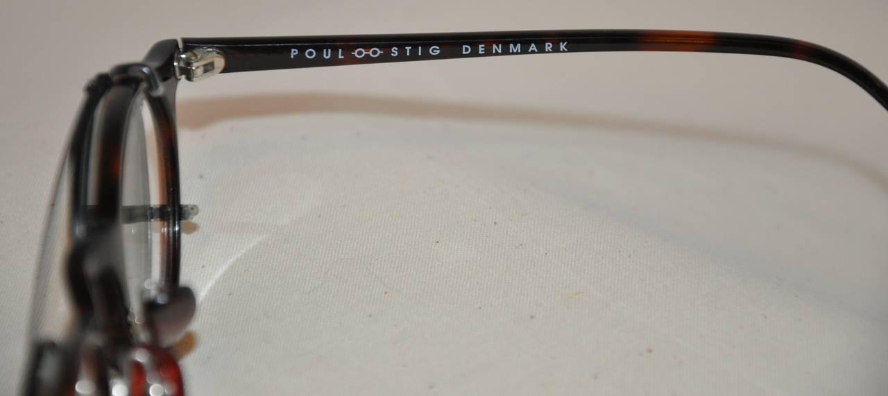 "Poul Stig Tortoise Frame Eyeglasses with ""Clip On"" Black Hardware Frame Lens 2"