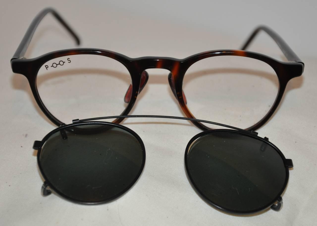 "Poul Stig Tortoise Frame Eyeglasses with ""Clip On"" Black Hardware Frame Lens 5"
