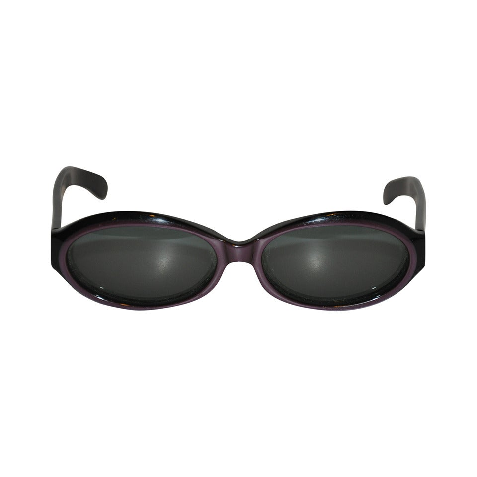 Emmanuelle Khanh Plum with Black Trim Sunglasses
