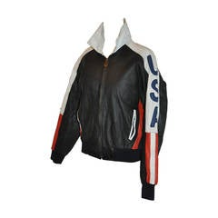 """Michal Hoban """"USA"""" Red, White and Blue Women's Leather Bomber Jacket"""