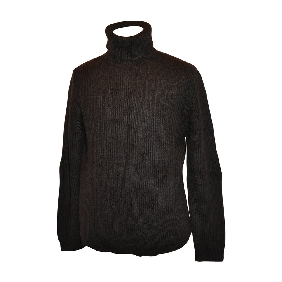 Issey Miyake Men's Pour Homme Coco-Brown High-Neck Pullover