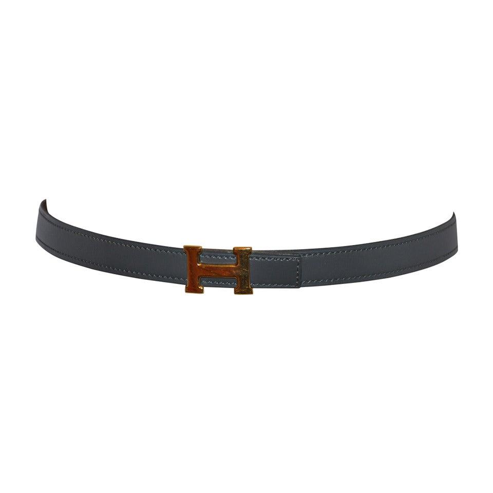 """Hermes Signature """"H"""" Gray Calfskin Belt"""