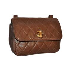"Leather School Taupe ""Chanel-Style"" Quilted Lambskin Belt Pouch"