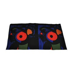 Yves Saint Laurent Huge Bold Abstract Wool Challis Scarf
