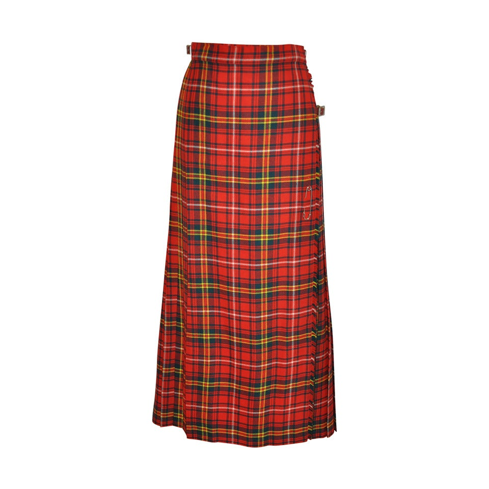 0da5eda399 L.S. Ayres and Co Bold Red Plaid Maxi Wrap Skirt For Sale at 1stdibs