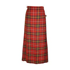L.S. Ayres & Co Bold Red Plaid Maxi Wrap Skirt