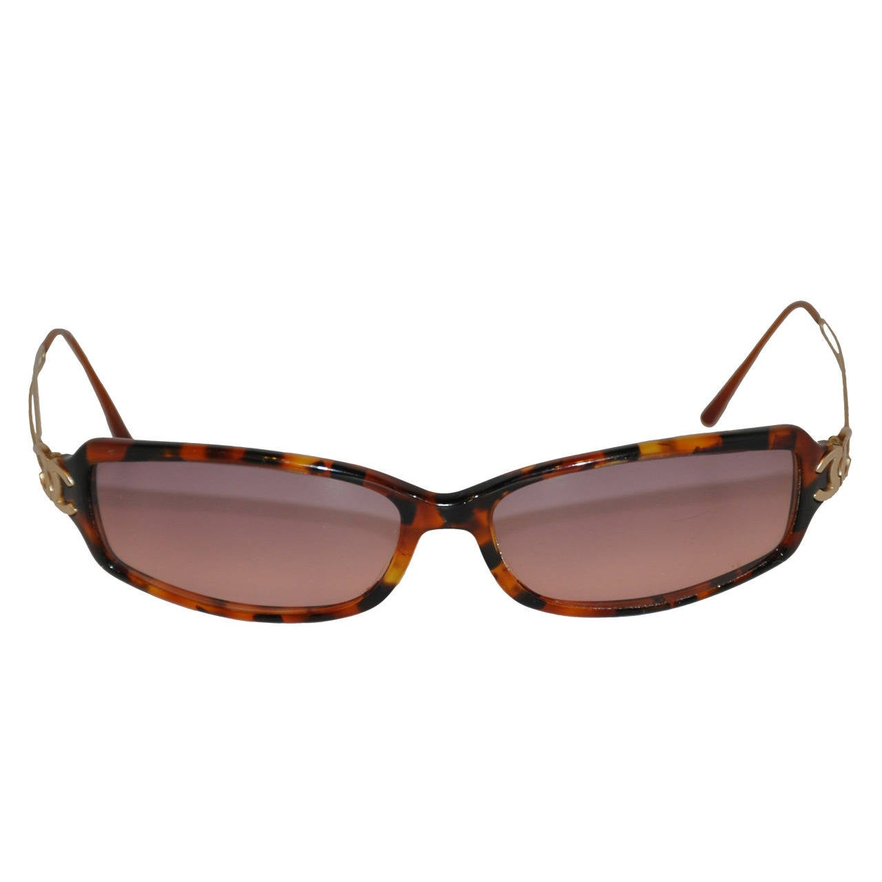 4079b4cd82158 Chanel Tortoise Shell and Gold Signature Logo Sunglasses For Sale at ...