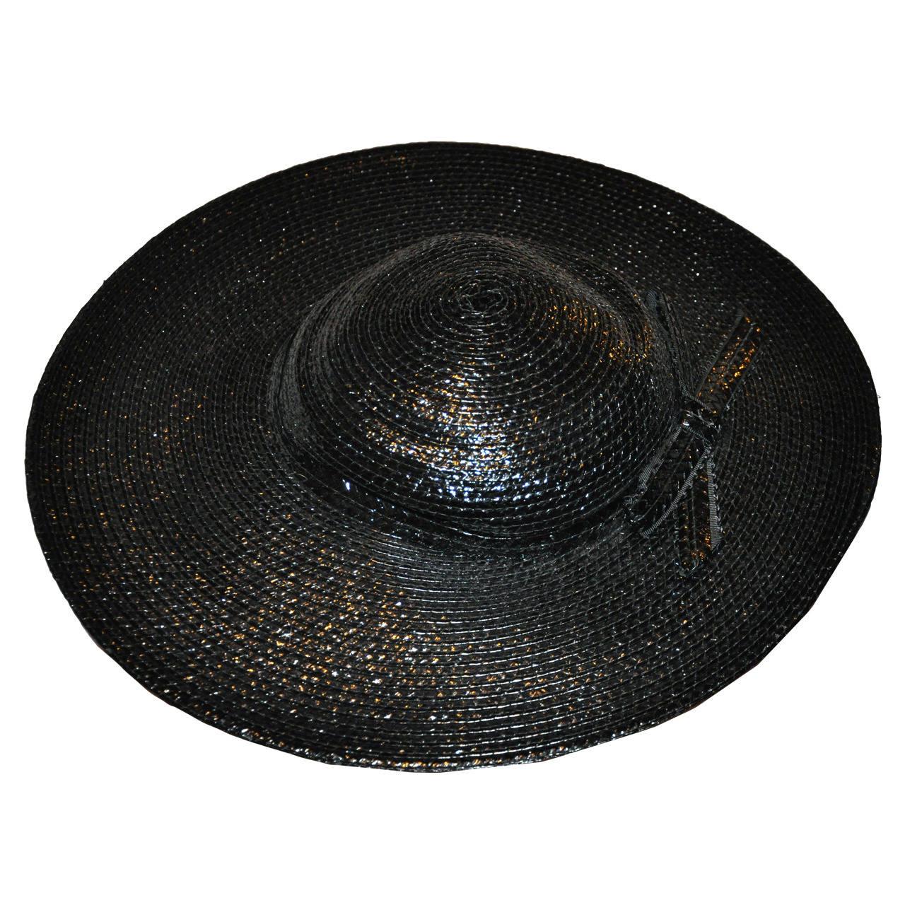 "Adolfo Wide Brim Polished Black Straw with ""Bow"" Hat"