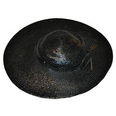 "Adolfo Wide Brim Polished Black Straw with ""Bow"" Hat"