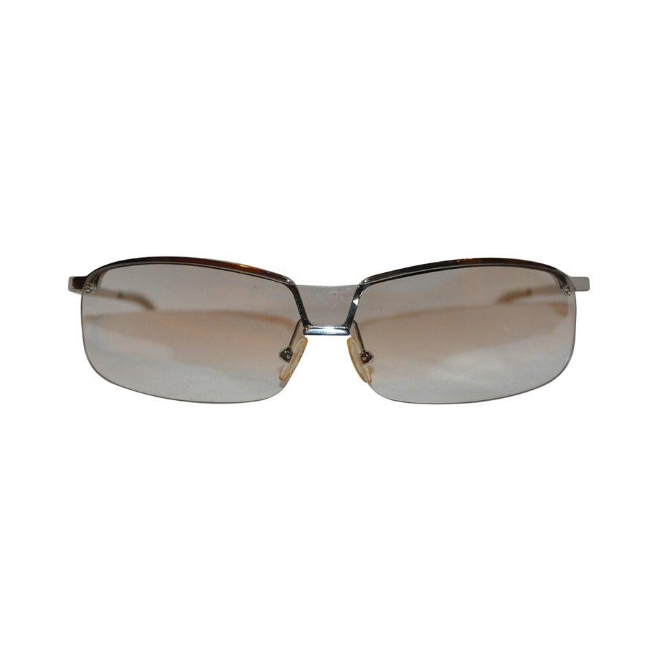 Prada Semi Wrap-Around Silver Hardware with Lucite Glasses