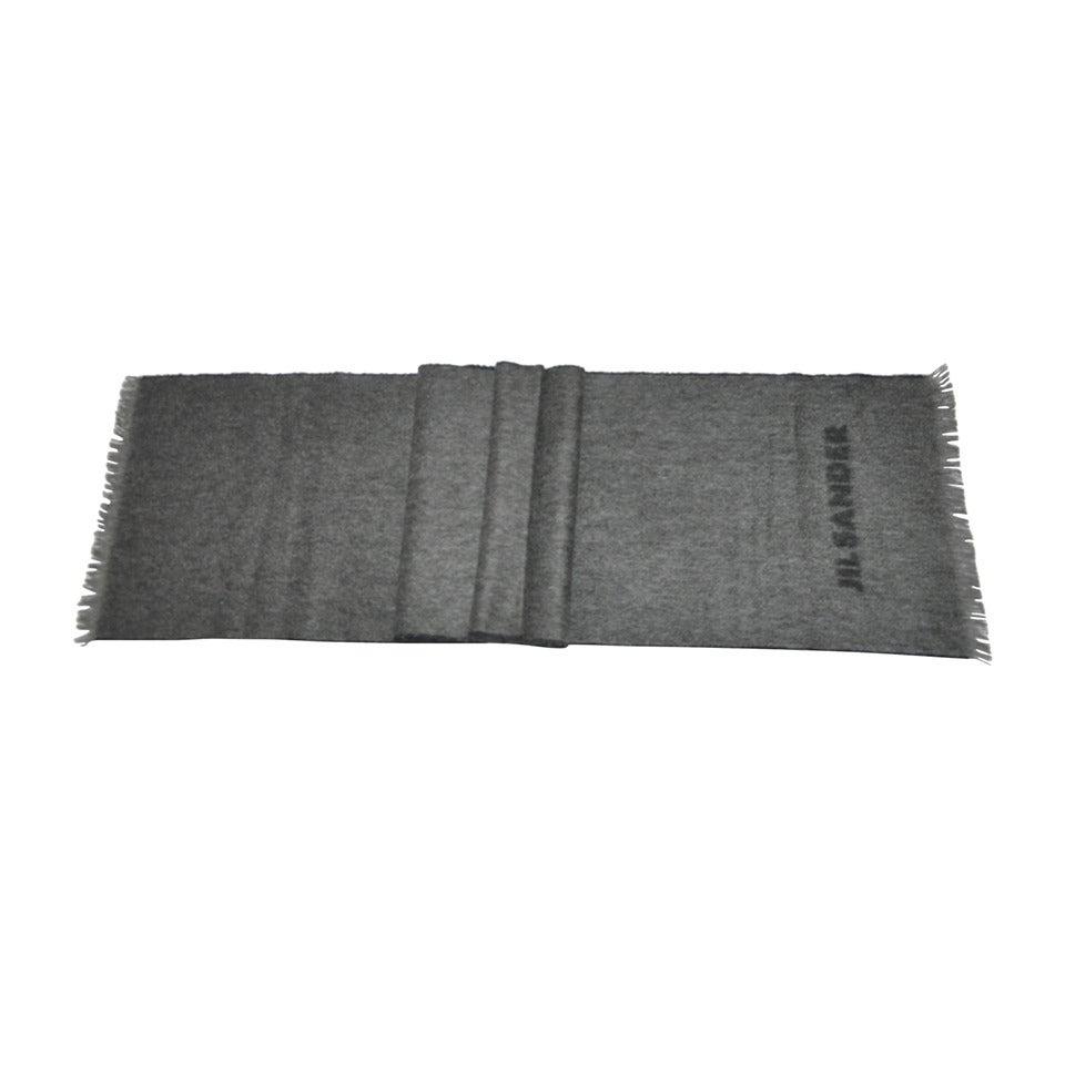 Jil Sander Charcoal Gray & Black with Fringe Cashmere Blend Scarf 1