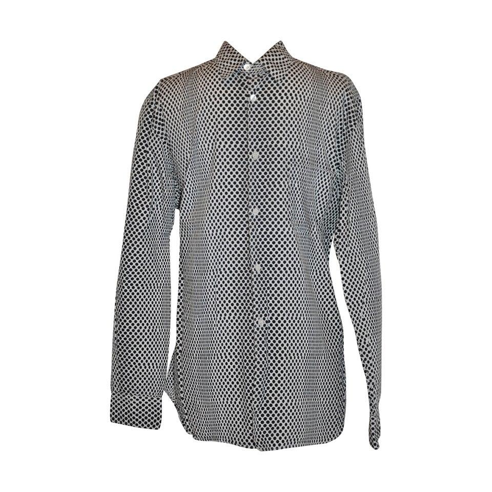 Comme des Garcon White with Black Multi-Sized Dots Men's Shirt