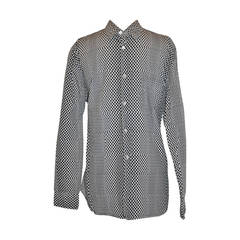 Comme des Garcon White with Black Multi-Sized Dots Men's Shirt