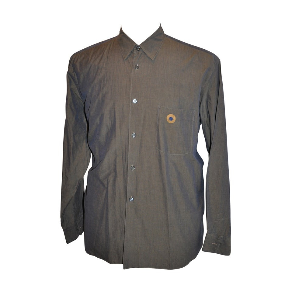 Comme des Garcons Men's Olive Green with Embroidered Patch Pocket Shirt