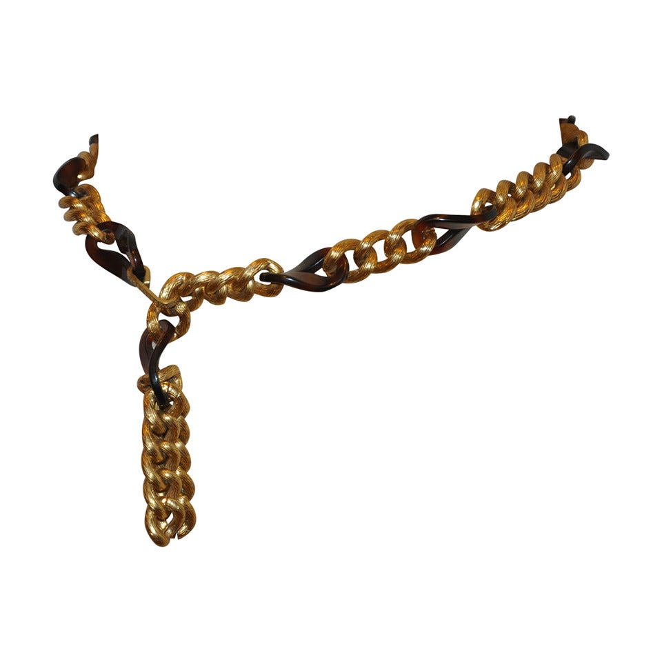 Tortoise Lucite with Gilded Gold Hardware Chain Belt