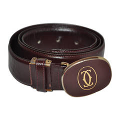 Cartier Signature Burgundy Calfskin Leather Belt