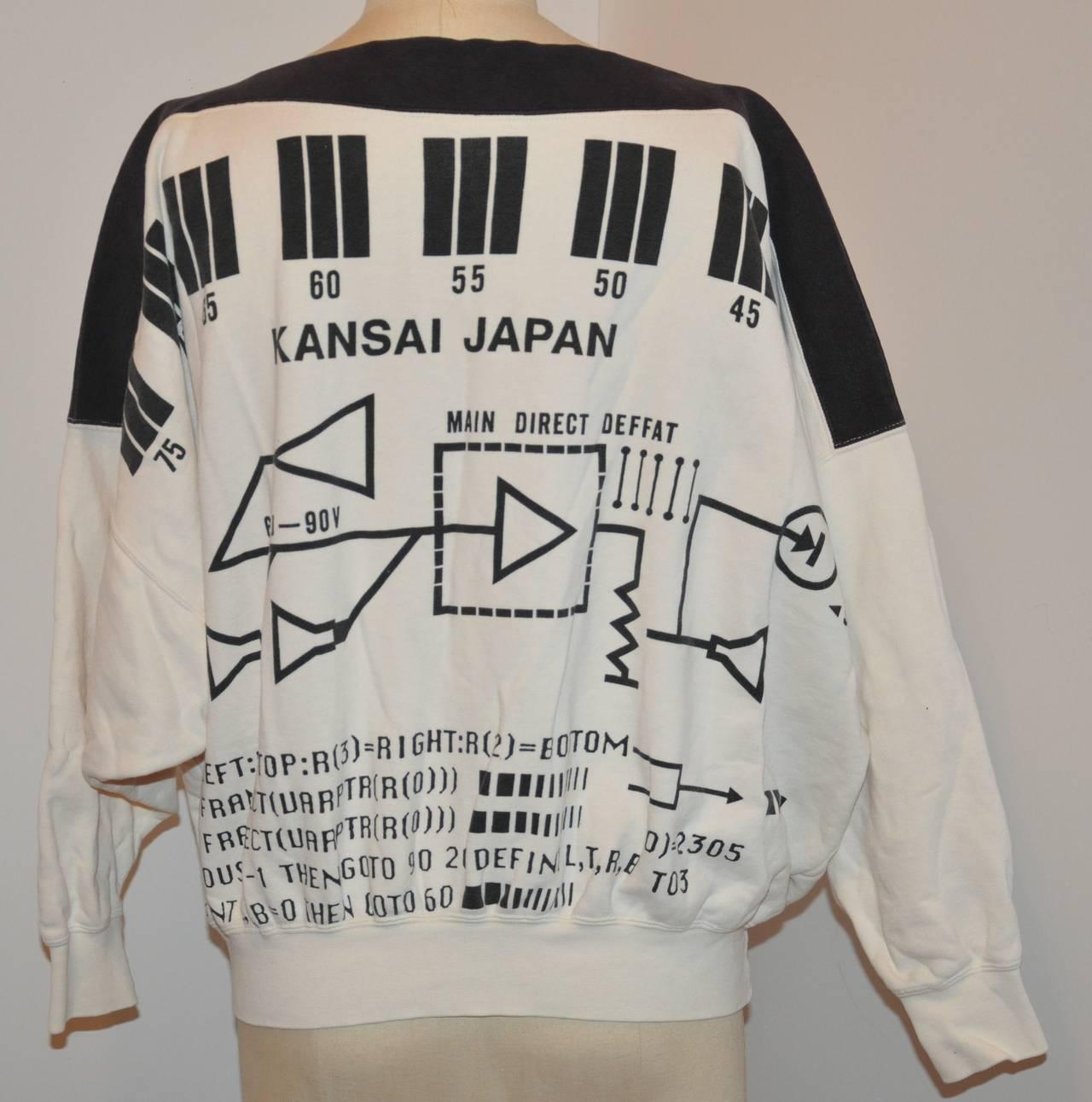 "Rare Yamamoto Kansai Bold ""Directions"" Block Print Boat-Neck Pullover 3"