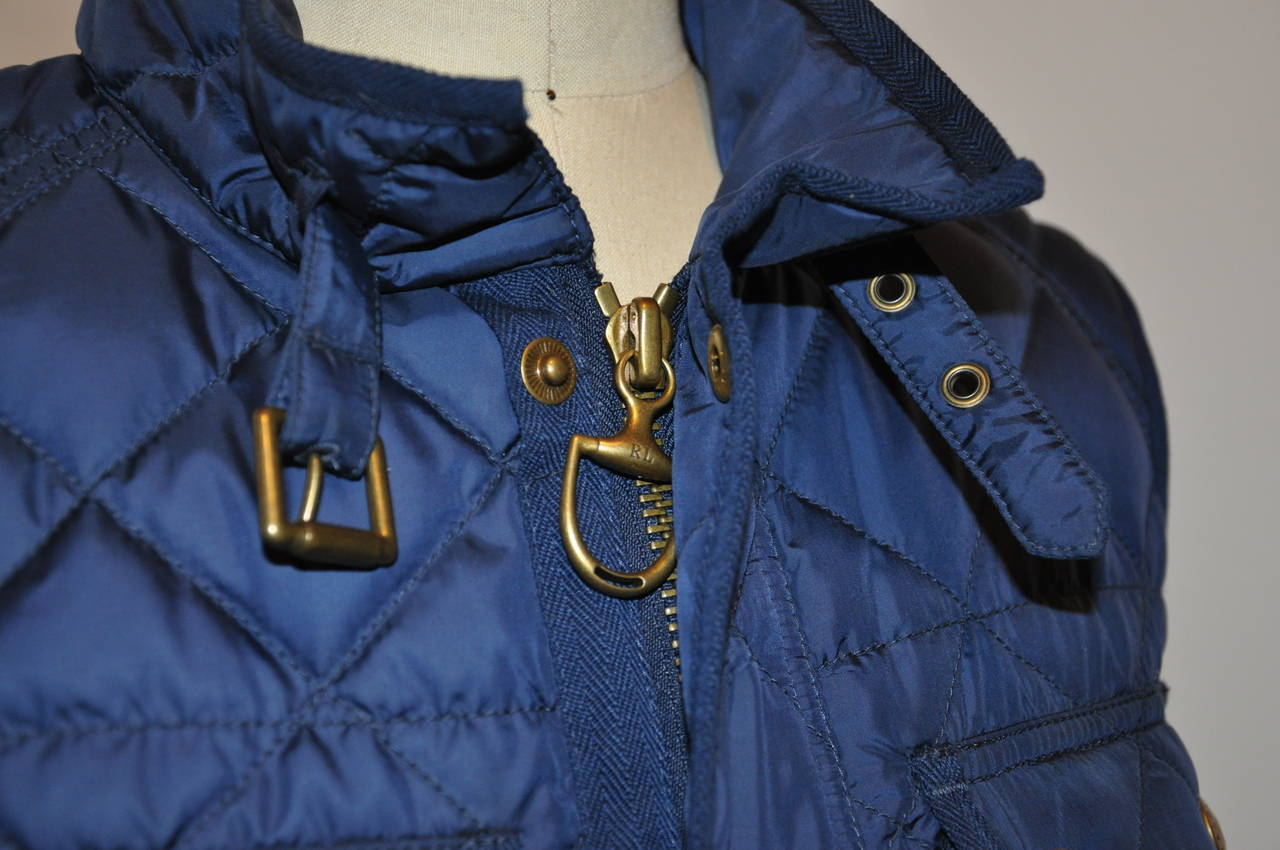 Purple Ralph Lauren Navy Quilted Down Vest with Optional Belt For Sale