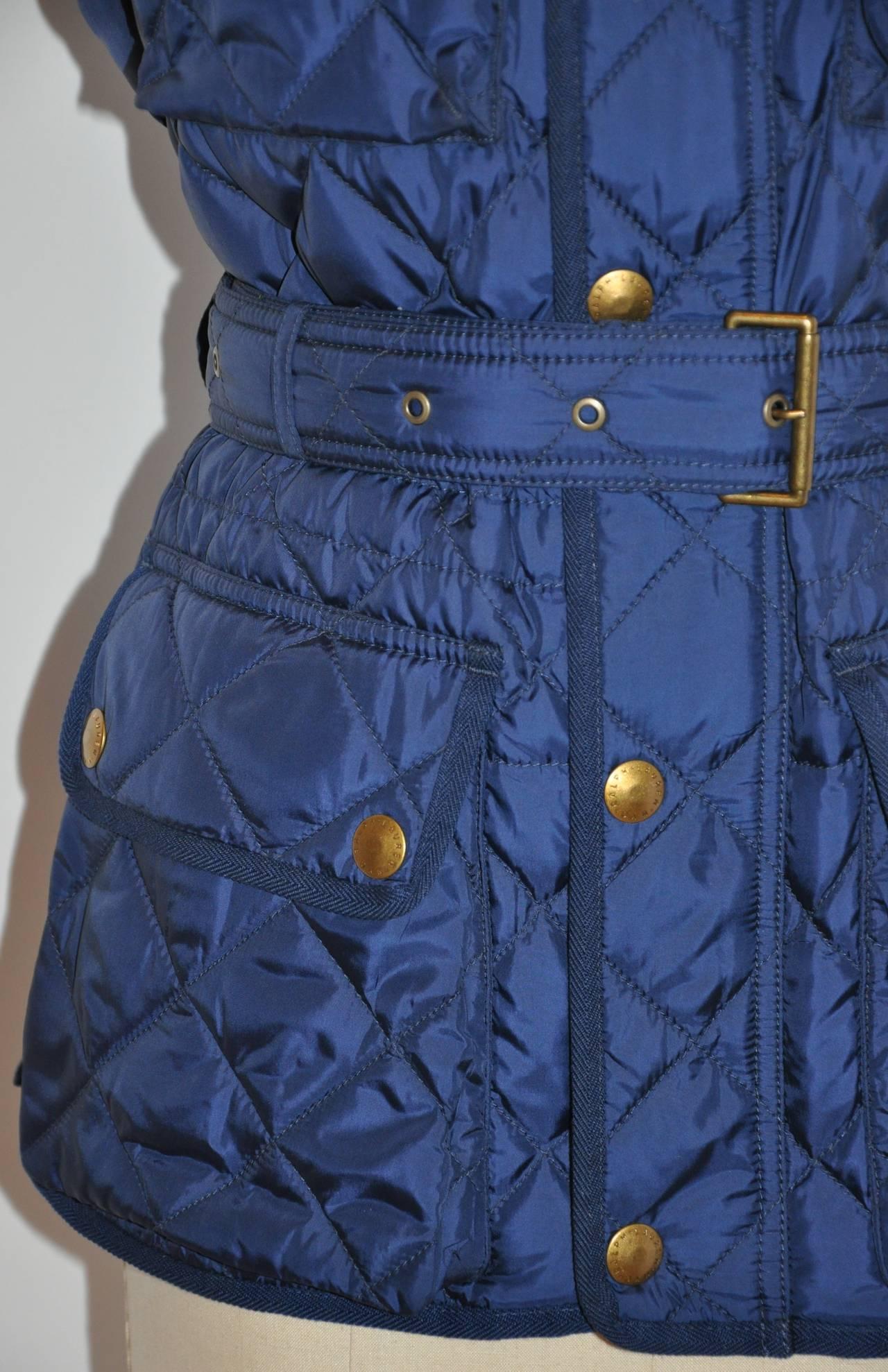 Women's Ralph Lauren Navy Quilted Down Vest with Optional Belt For Sale