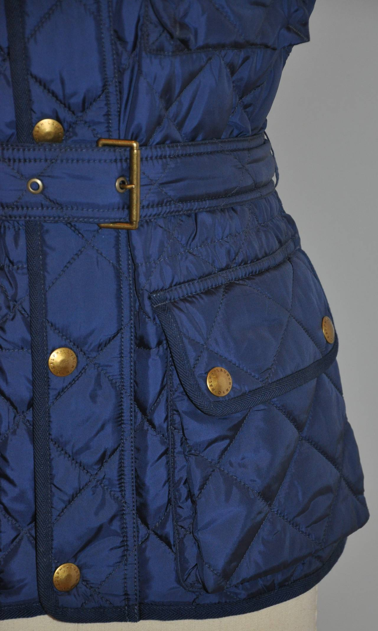 Ralph Lauren Navy Quilted Down Vest with Optional Belt For Sale 1