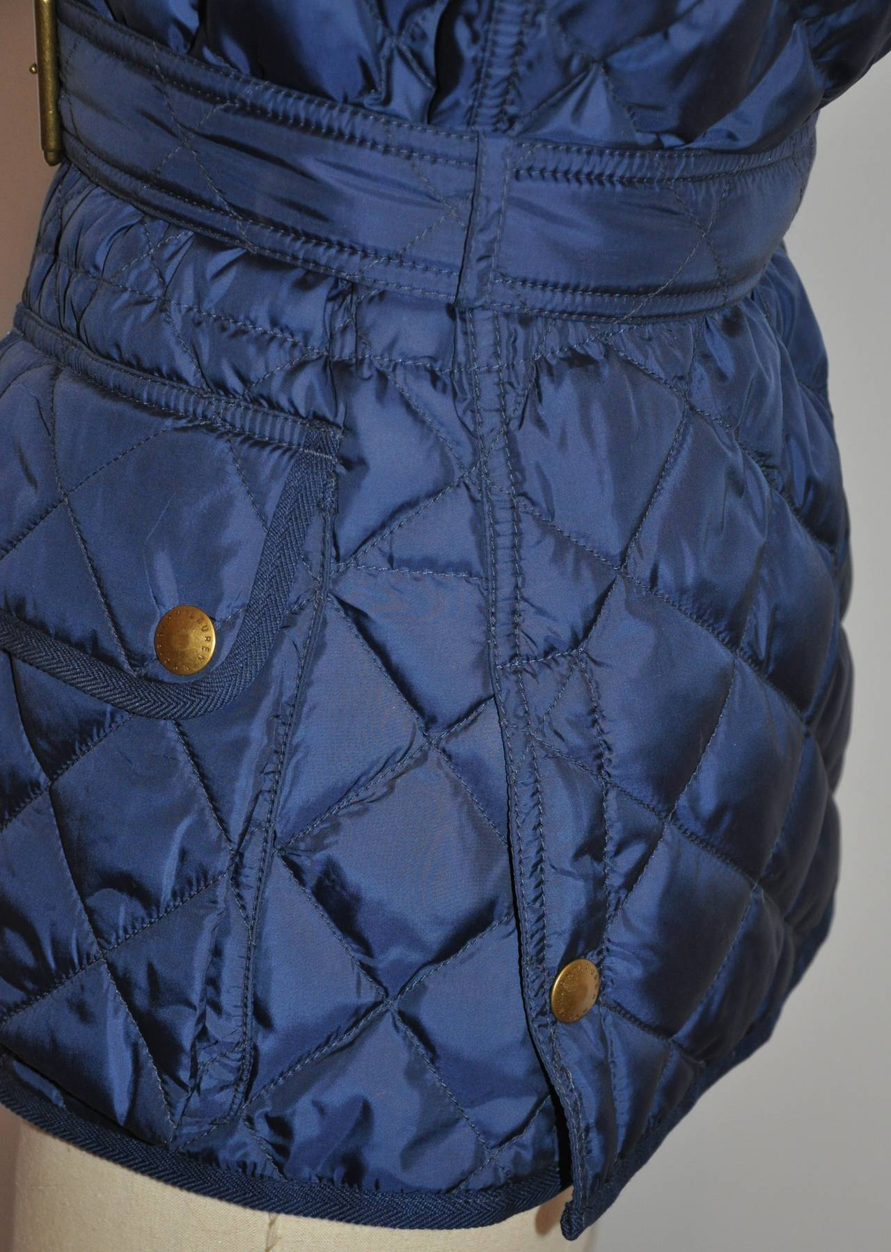 Ralph Lauren Navy Quilted Down Vest with Optional Belt For Sale 2