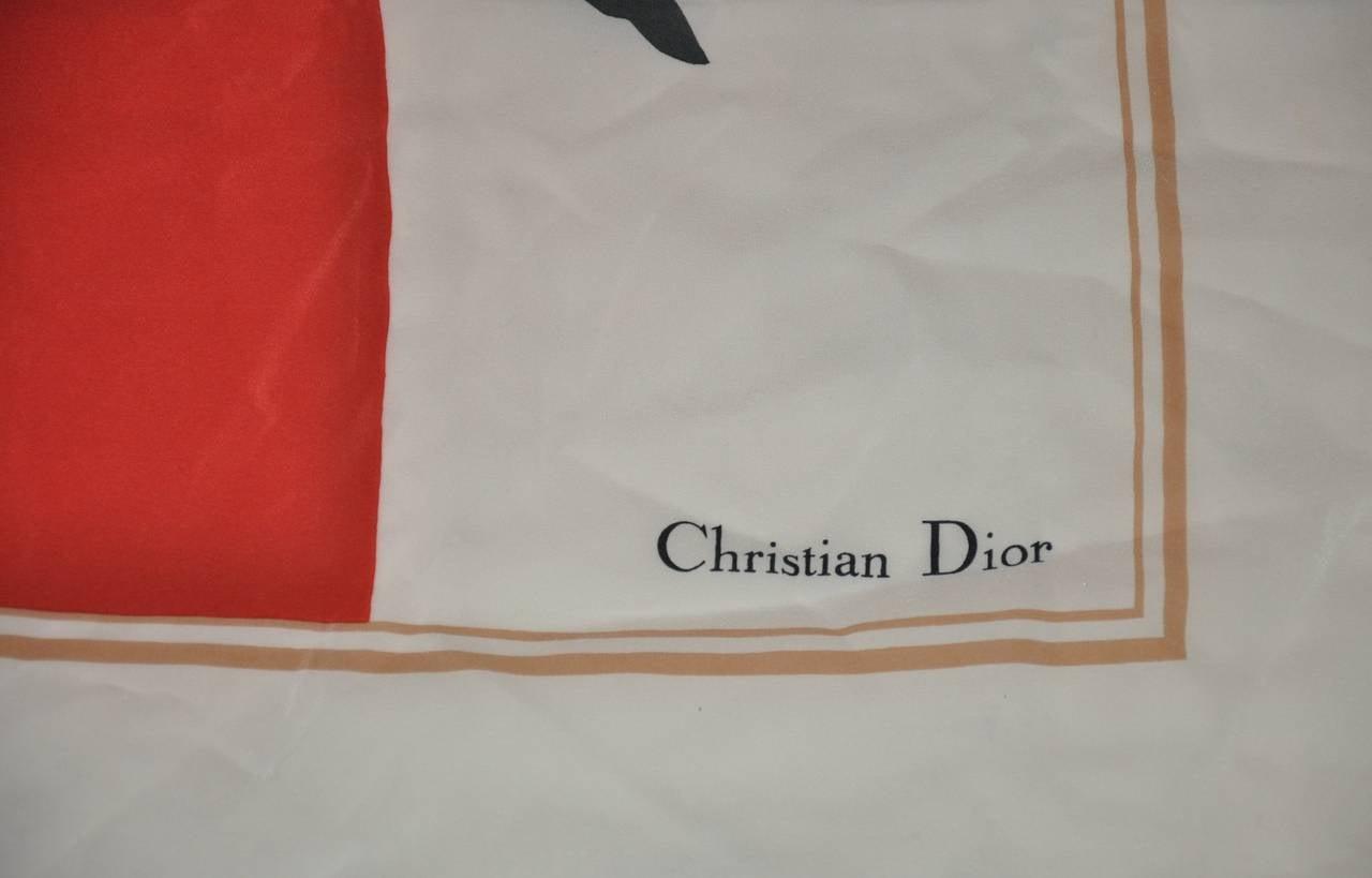 "Christian Dior ""Tulip"" Floral Silk Scarf 2"