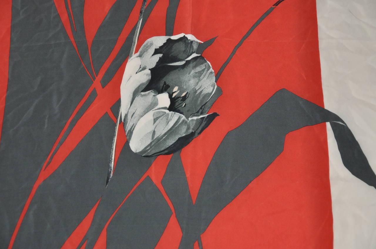 "Beige Christian Dior ""Tulip"" Floral Silk Scarf For Sale"