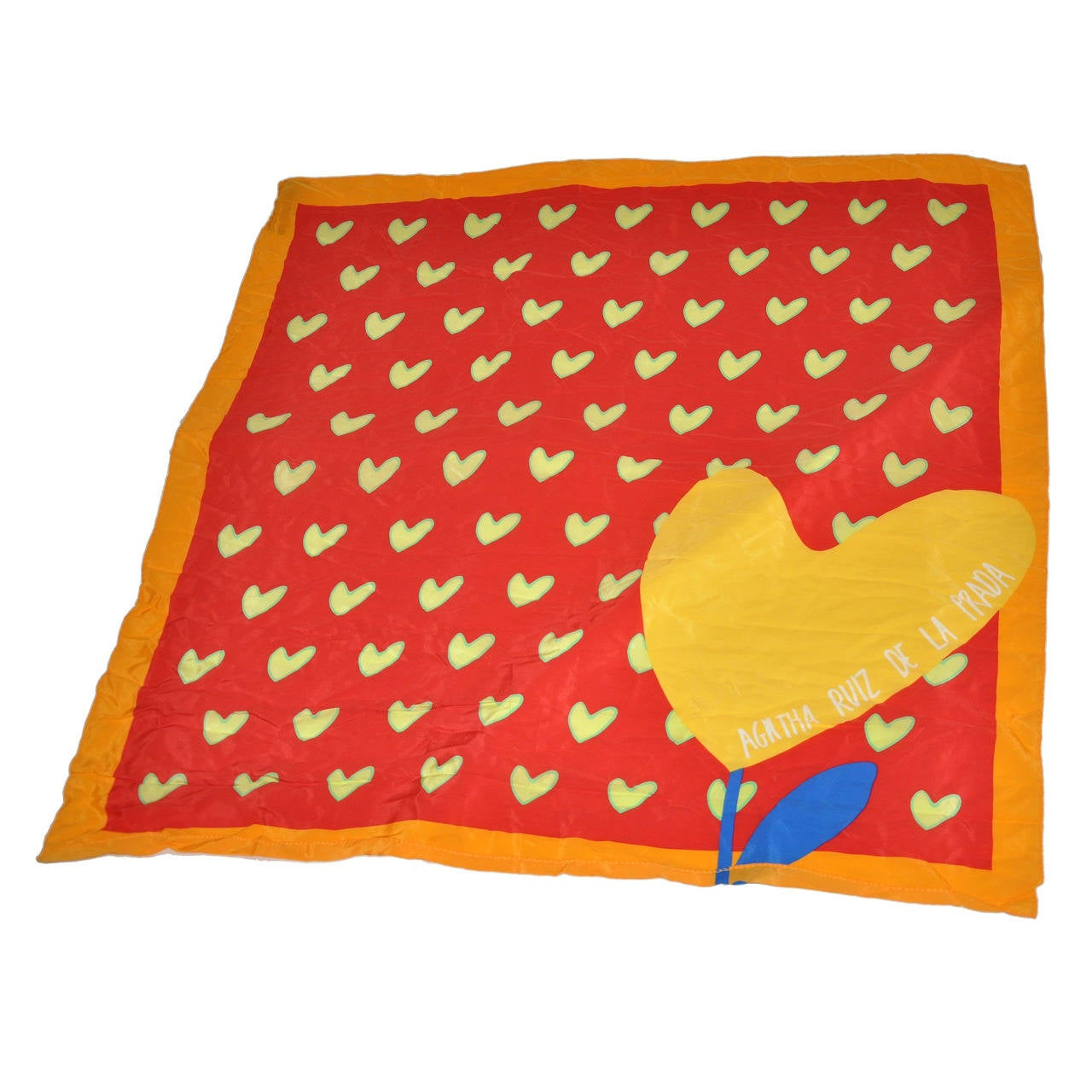 "Agatha Ruiz de la Prada ""Hearts"" Silk Scarf For Sale"