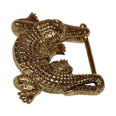 """Kieselstein Cord Sterling with Gold Vermeil Signature """"Alligator"""" Buckle"""