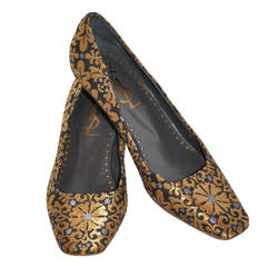 Yves Saint Laurent Woven Gold Lame Floral Kitty Heel Pumps