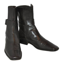 Jil Sander Black Calfskin Wrap-Around Boots