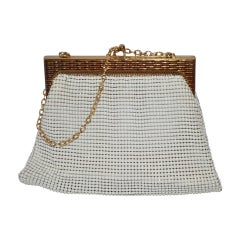 Whiting & Davis White & Gold Mesh with Textured Gold Hardware Handbag